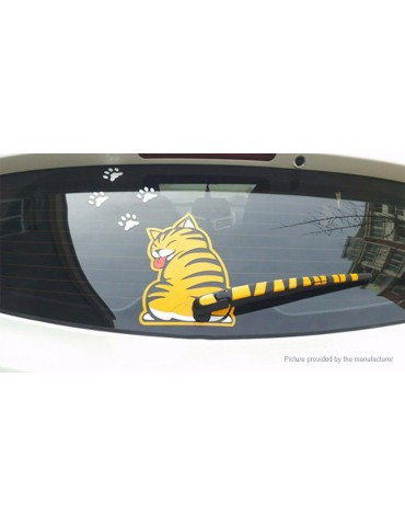 Cat Moving Tail Reflective Car Window Wiper Decoration Decal Sticker